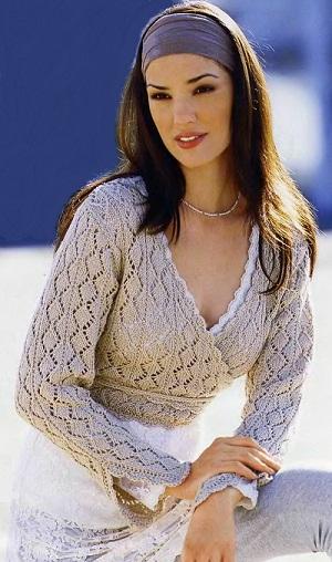 красивые жакеты для женщин связанные спицами на осинке.